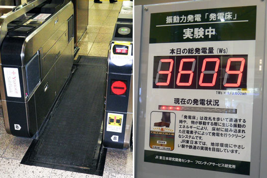 Two distinct images. The left image shows a turnstile for ticketing. There is a black strip of material running through it. The right image shows a figure with an explanation in Japanese describing the power-generating nature of the strip.