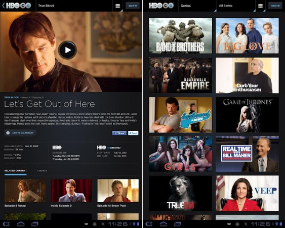 HBO Go on an Android tablet