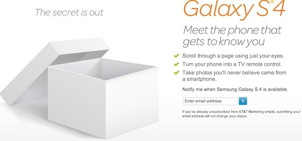TMobile, AT&T publish Galaxy S 4 signup page, for those who want to be first in the know