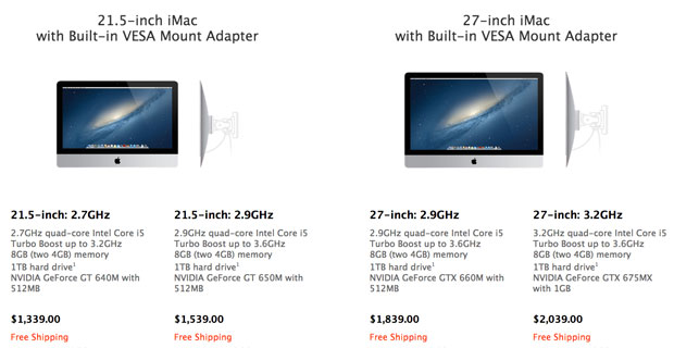 Apple offers iMacs with VESA mount adapters builtin, costs $40 extra