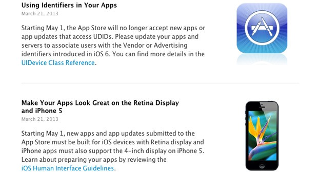 Apple sets a May 1st cutoff for app submissions that use UDIDs, don't support iPhone 5 or Retina screens