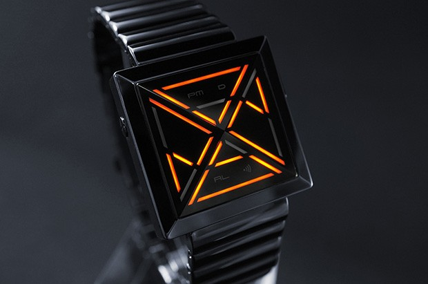 DNP EMBARGO Tokyoflash's cryptographyinspired Kisai X watch tells time via pyramid lens, LED lights