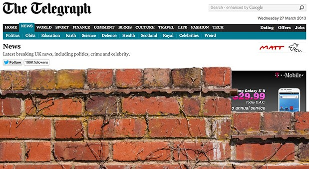 The Telegraph erects paywall for UK readers