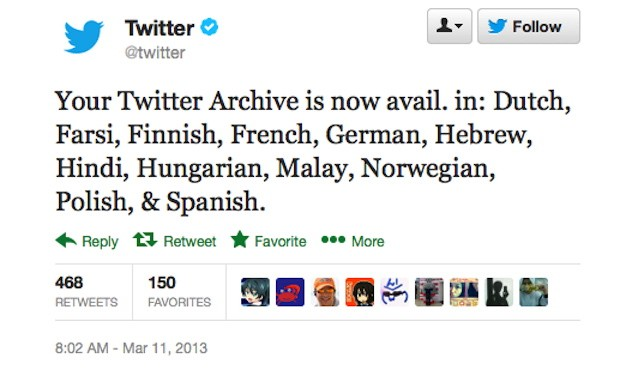 Twitter expands archive downloads to 12 more languages including Dutch, Malay and Hebrew