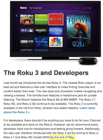 Roku 2 menu update gets a new 'end of May' deadline in message to devs