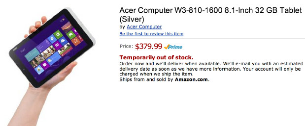 Unannounced Acer Iconia W3 8inch tablet leaks on Amazon, priced at $380