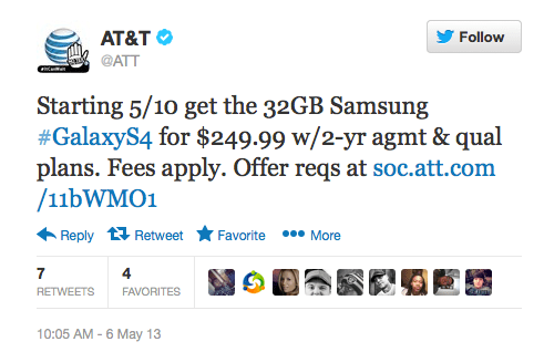 32GB Samsung Galaxy S 4 coming to AT&T May 10th for $250