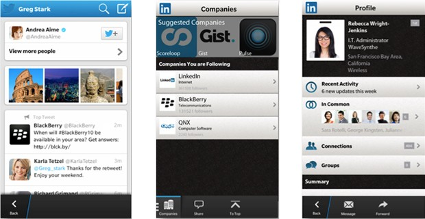 Twitter and LinkedIn updates for BlackBerry 10 deliver big leaps in search