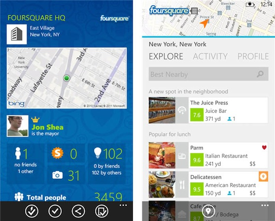 Foursquare updates app for Windows Phone 8, brings lock screen notifications and NFC checkins