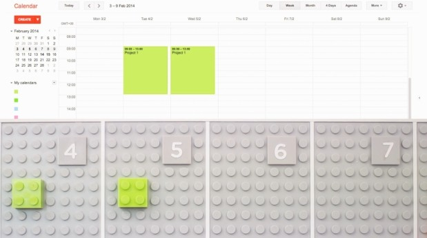 DNP Lego calendar syncs with Google Calendar, makes barefoot runs to the office kitchen treacherous