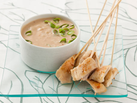 roasted chicken skewers with peanut sauce