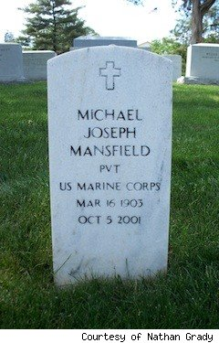 Mike Mansfield's grave marker at Arlington National Cemetery