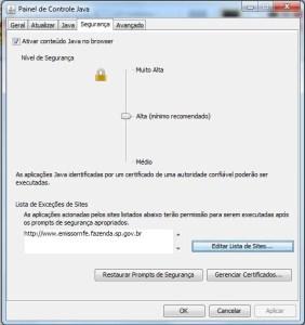 Configurando as exceções de sites - Java
