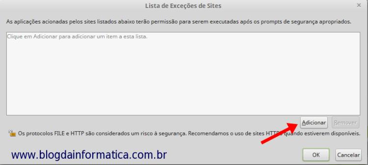 Java - Adicionar Sites nas exceções