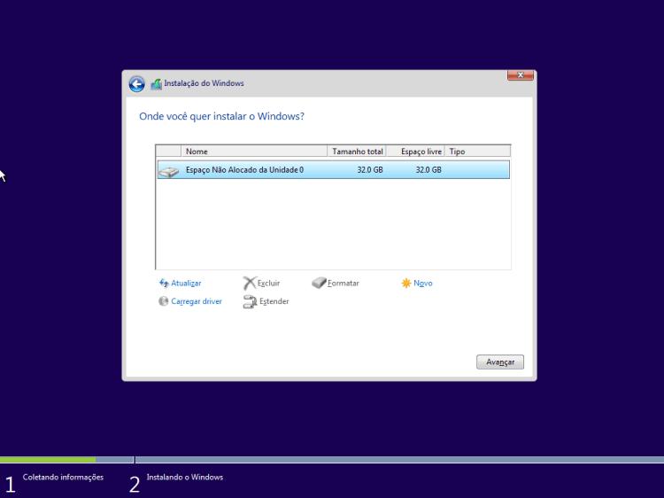 Windows 10 - Local da instalação