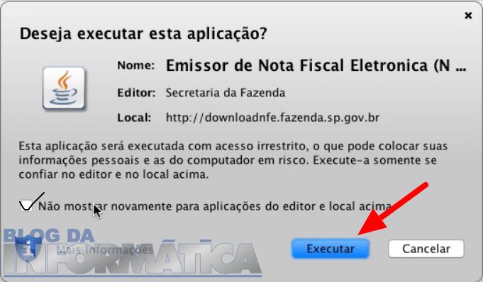 Confirmação da Execução do Emissor NFe no MAC