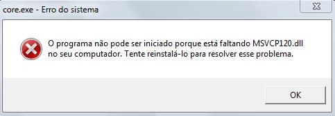 O programa não pode ser iniciado porque está faltando o MSVCP120.DLL no seu computador. Tente reinstalá-lo para resolver este problema