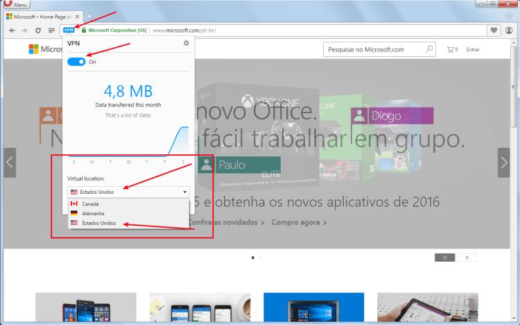 Opera Developer - Habilitando e escolhendo a VPN