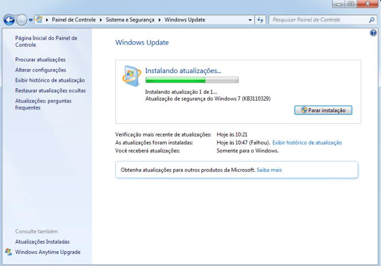 Erro na Instalação do KB3110329