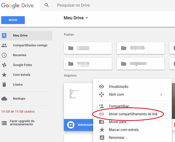 Google Drive - Ativar compartilhamento