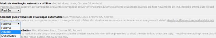 Chrome Flags - Recarregamento automático
