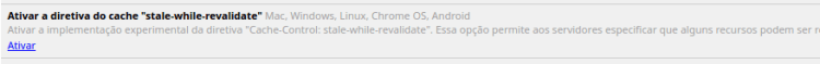 Chrome Flags - Diretiva de cache