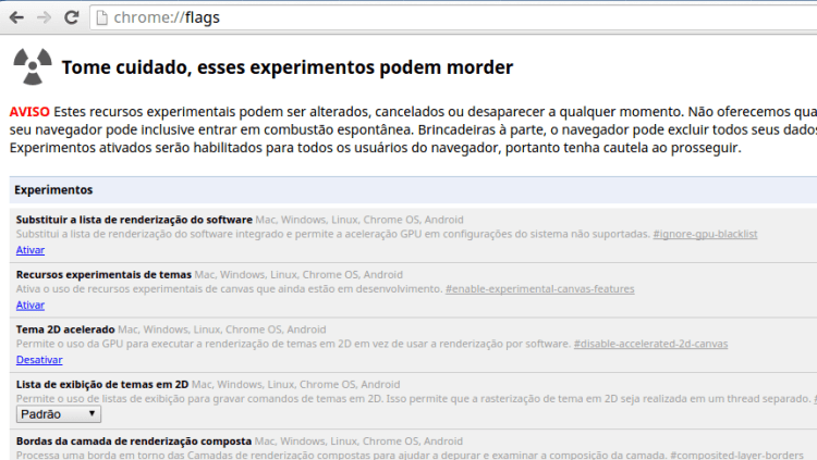 Painel das flags do Google Chrome