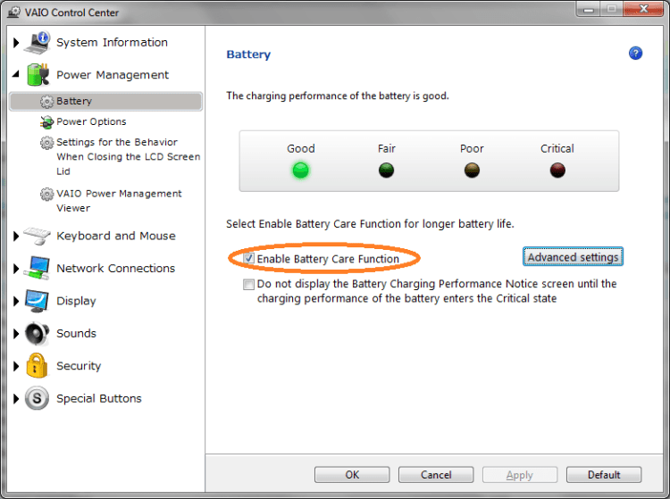 Sony Vaio Battery Care