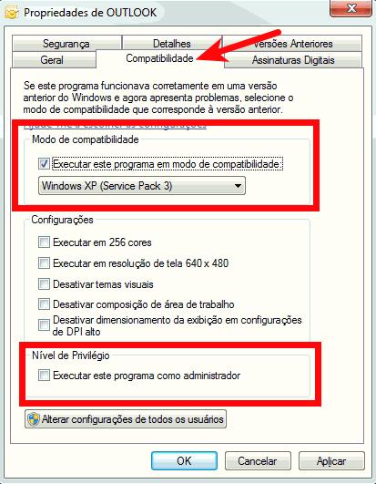 Modo de compatibilidade do Outlook