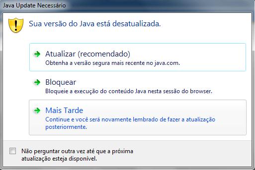 Mensagem de Java desatualizado 1