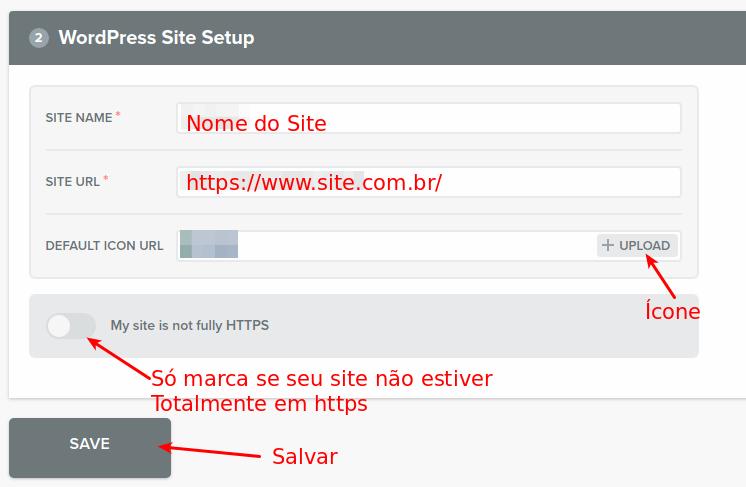 Configurações do WebPush
