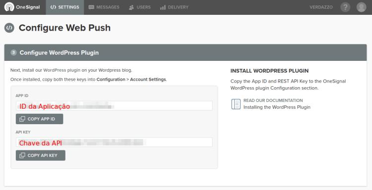 Chaves do WebPush