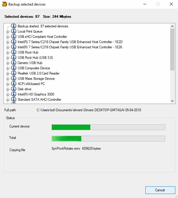 DriverBackup! - Processo em andamento