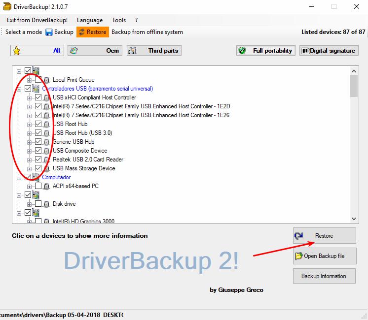 DriverBackup! - Selecionar os drivers para restauração