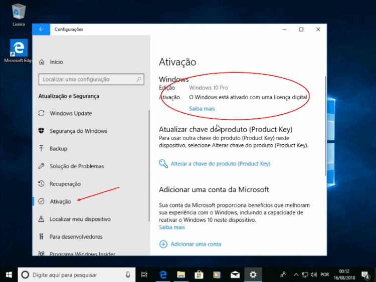 Windows ativado com a Licença Digital