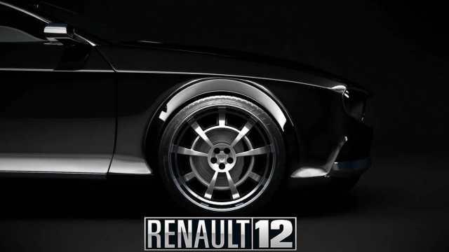 Renault 12 prototipo negro vista lateral delantera derecha