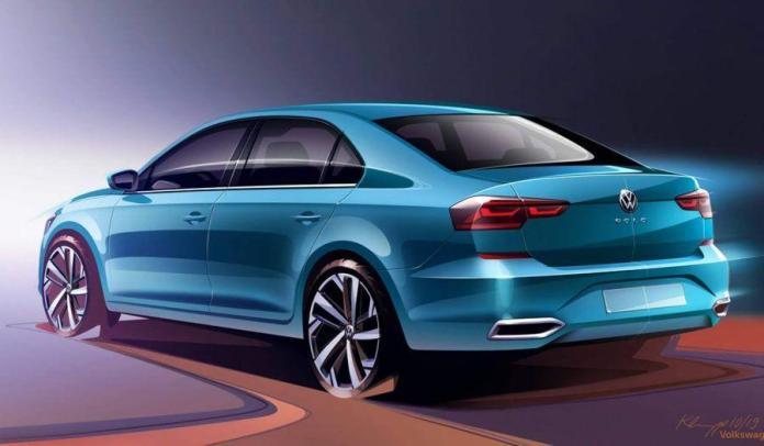 Nuevo VW Polo Sedan 2021 celeste vista trasera izquierda