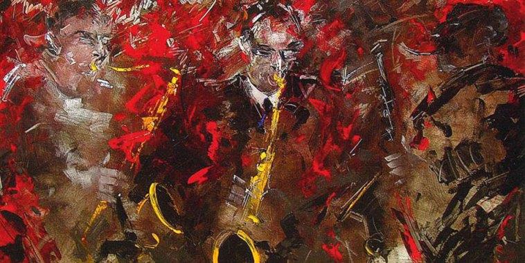 Francesco Toraldo Jazz group Acrilico su Tela improvvisazione