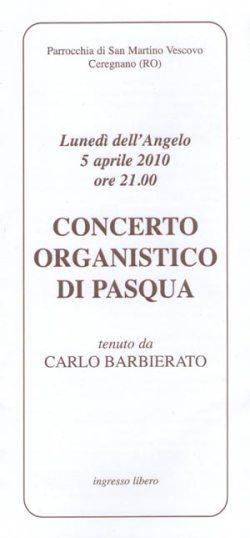 frontespizio Programma Concerto di inaugurazione dell'organo restaurato
