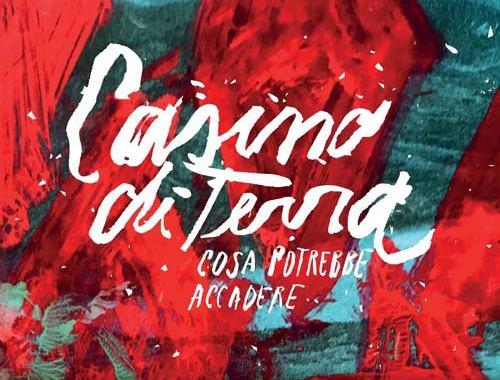 """copertina disco """"Cosa potrebbe accadere"""" dei Casino di Terra, con rombi rossi su fondo verde acqua"""