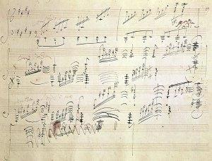 Un pagina del manoscritto del Finale della Sonata op. 27 n. 2 di Beethoven