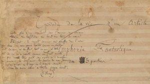 "Partitura autografa de la Symphonie fantastique di Berlioz (1830) con un estratto del poema ""Feuilles d'automne"" di Victor Hugo"