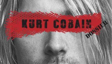 Copertina del libro di Kurt Cobain Dossier con il suo volto coperto da una fascia rossa con scritto il nome