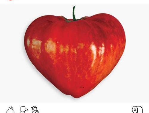Copertina del disco Utveggi: Canzoni d'Umore con una mela a forma di cuore