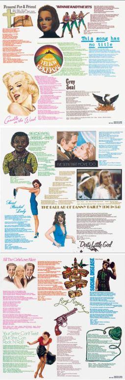 L'interno della copertina del disco di Elton John con i testi dei brani dell'album Goodbye Yellow Brick Road