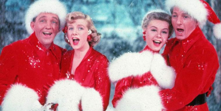 Bing Crosby, Rosemary Clooney, Vera-Ellen and Danny Kaye in White Christmas vestiti da babbo natale