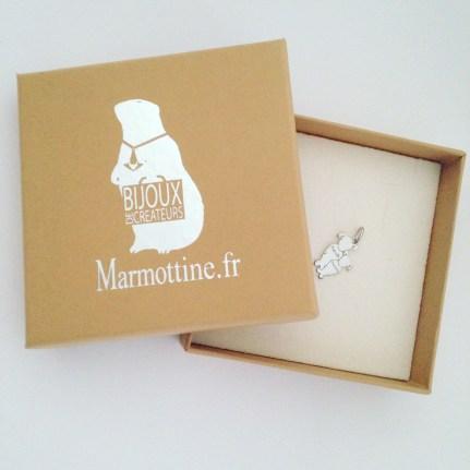pendentif or blanc marmottine