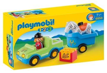 véhicule remorque cheval Playmobil 123 13€27 chez Amazon