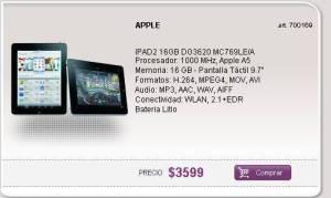 , Ipad 2 de 16gb a $3599 en Argentina