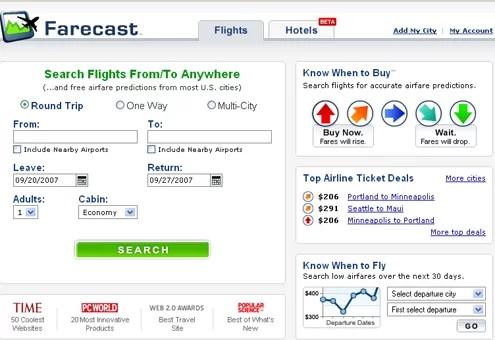 Farecast, o la busqueda eterna del pasaje aereo mas barato